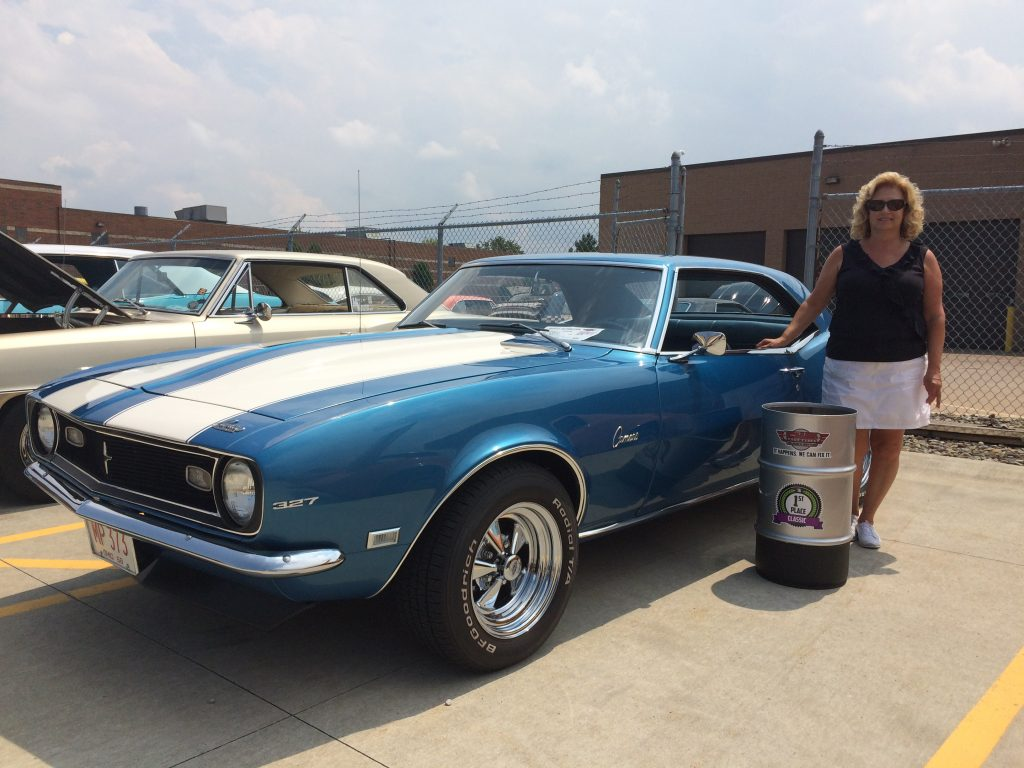 Lulu Wagner wins 1st in Classics Class with a 1968 Chevy Blue and White Camaro