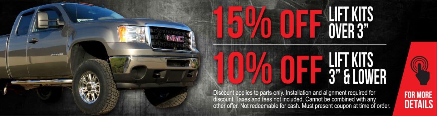 Truck Lift Kits coupon custom graphic