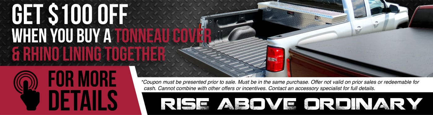 $100 Off Rhino Liner and Tonneau Cover custom graphic